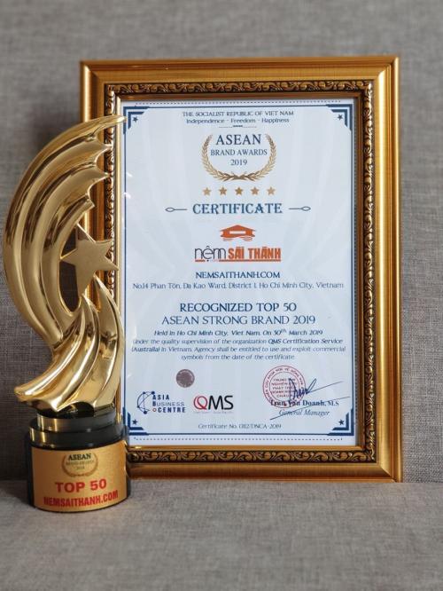 Nệm Sài Thành đạt giải Top 50 thương hiệu mạnh ASEAN 2019 - 2