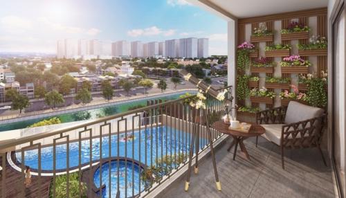 Hinode City có độ rộng hành lang căn hộ 2m, sảnh chờ thang máy rộng tối thiểu 2,6m, logia rộng 1,2m.