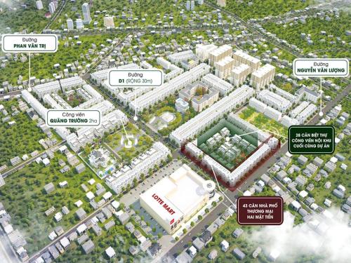 Phối cảnh vị trí 43 căn nhà phố thương mại sở hữu hai mặt tiền đường Nguyễn Văn Lượng và 28 căn biệt thự có công viên nội khu cuối cùng tại khu B dự án CityLand Park Hills. Thông tin chi tiết truy cập www.cityland.com.vn hoặc hotline 0968228811.