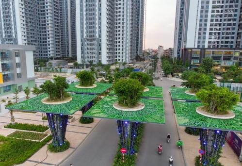 Thiết kế cổng vào của TNR Goldmark City lấy cảm hứng từ công trình Garden by the Bay của Singapore.