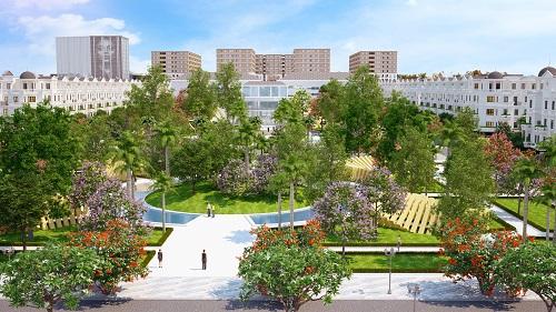 Phối cảnh một góc công viên quảng trường dự án CityLand Park Hills với những mảng xanh sẽ tạo lập không gian sốngcho cư dân Gò Vấp.