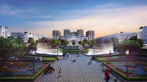 Phối cảnh công viên quảng trường rộng hơn 2ha, được đội ngũ kiến trúc sư hàng đầu Nhật Bản Takenaka thiết kế