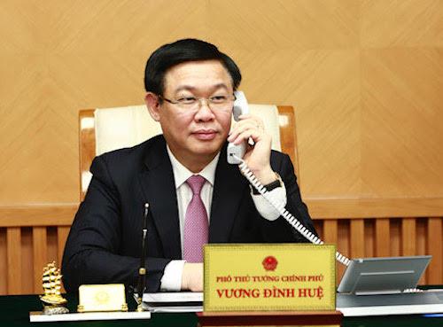Phó thủ tướng Vương Đình Huệ điện đàm với Bộ trưởng Tài chính Mỹ. Ảnh: VGP
