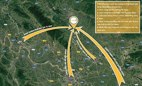 Dự án nằm trên mặt đường quốc lộ 3 tới Hà Nội.