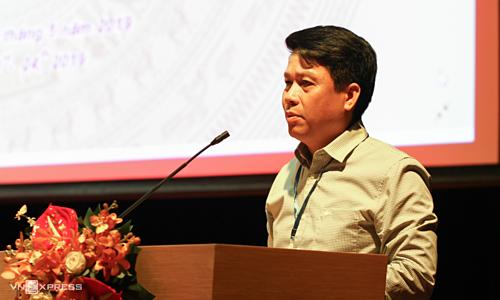 Vụ trưởng Thanh Toán Phạm Tiến Dũng phát biểu tại hội nghị. Ảnh: Anh Tú