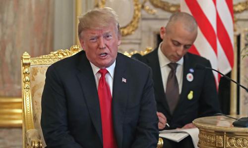 Tổng thống Donald Trump phát biểu tại cuộc họp báo hôm 27/5. Ảnh: Bloomberg