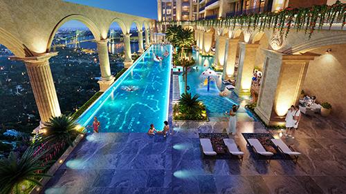 Phối cảnh hồ bơidự án Rome by Diamond Lotus tại Thủ Thiêm, quận 2.