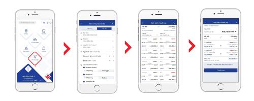 Các bước đặt vé máy bay trên ứng dụng BIDV SmartBanking. Thông tin chi tiết về chương trình khuyến mại xem thêm tại đây, hotline 1900 55 55 20.