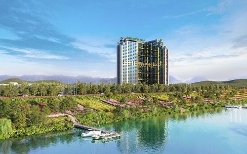 Khu nghỉ dưỡng Wyndham Thanh Thủy lưng tựa núi Tản, mặt hướng sông Đà.