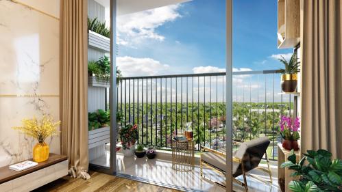 Các căn hộM2 sở hữu tầm nhìn thoáng rộng ra khuôn viên xanh xung quanh dự án.