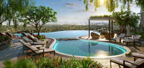 Không gian sống xanh mát như tại resort tại chung cư.