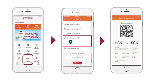Các bước check-in onlinetrên ứng dụng ngân hàng.