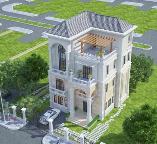 Phối cảnh mỗi căn biệt thựtheo phong cách kiến trúc tân cổ điển đậm châu Âu
