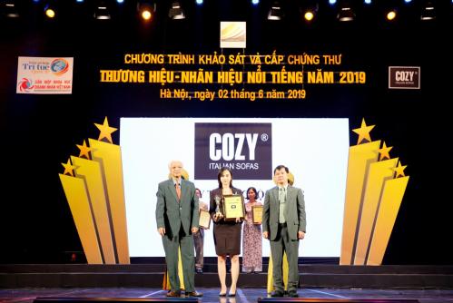 Cozy tự hào được vinh danh trong Top 10 thương hiệu - nhãn hiệu nổi tiếng năm 2019