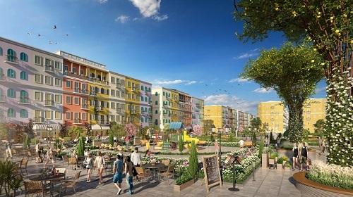 Thiết kế hài hòa giữa không gian vui chơi, giải trí và sinh hoạt cộng đồng trong khu đô thị.