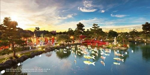 Phối cảnh dự kiến khu vườn Nhật, trong dự án Vinhomes Smart City nhìn từ hồ cá chép đỏ.