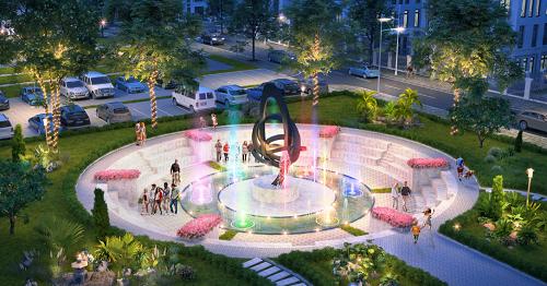 Phối cảnh công viên trung tâm tại dự án.