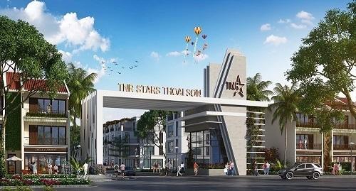 Phối cảnh khu cổng chào dự án TNR Stars Thoại Sơn tại Thoại Sơn, An Giang.