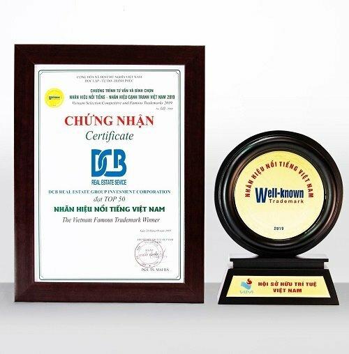Chứng nhận Top 50 nhãn hiệu nổi tiếng Việt Nam của DCB.