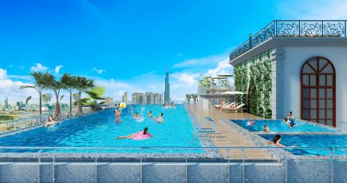 Tổ hợp hồ bơi trên tầng thượng dự án.
