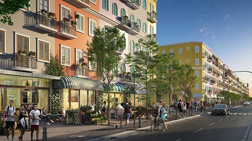 Phối cảnh phần vỉa hè bên trong dự án Sun Grand City New An Thoi, tạo không gian thoáng rộng cho người đi bộ.
