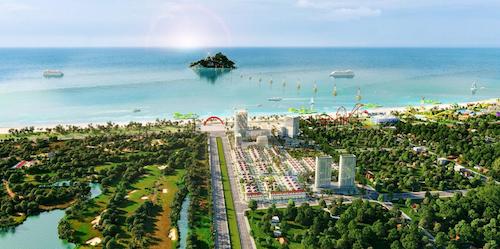 Phối cảnh dự án Cua Lo Beach Villa hướng nhìn ra biển.