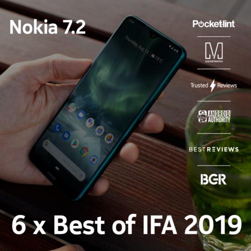 Nokia 7.2 sở hữu ống kính Zeiss - chiếc điện thoại đạt được những giải thưởng quan trọng tại sự kiện IFA 2019.