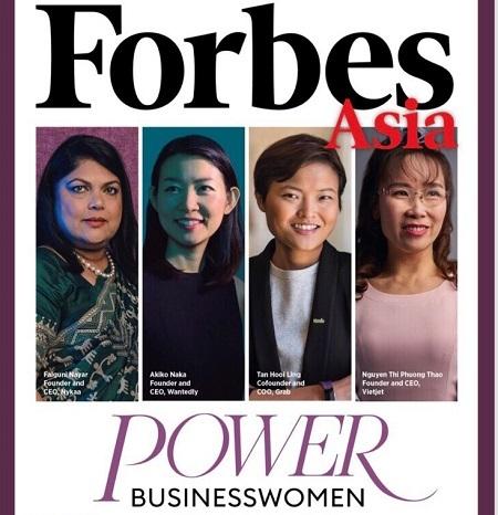 Tỷ phú Phương Thảo (bìa phải) trên bìa tạp chí Forbes số đặc biệt công bố danh sách