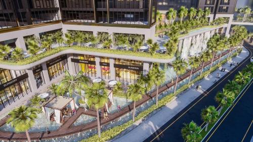 Phối cảnh một góc dự án Sunshine City Sài Gòn với thác tràn nghệ thuật và mảng xanh trù phú.