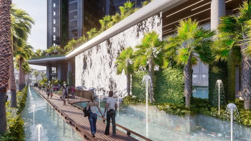 Không gian sống trong lành với nhiều cây xanh và mặt nước tại Sunshine City Sài Gòn.