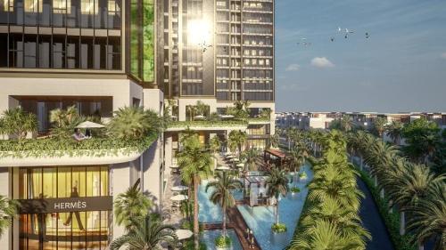 Phối cảnh mảng xanh đan cài khéo léo tại dự án Sunshine City Sài Gòn.