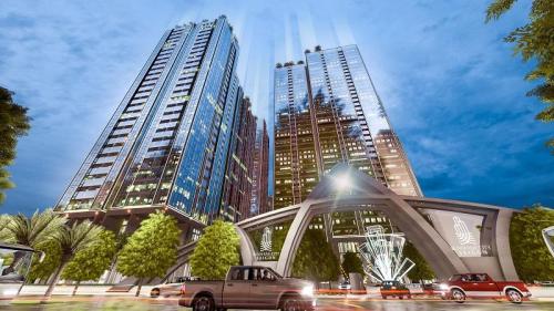 Sunshine City Sài Gòn kết hợpkính Low-e và hệ thống led trang trí biến tổng thể dự án thành tổ hợp chung cư sang trọng và đẳng cấp tại khu Nam Sài Gòn.