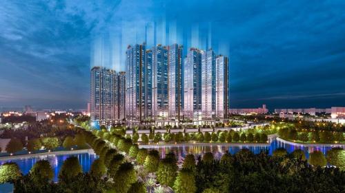 Phối cảnh dự án Sunshine City Sài Gòn tại quận 7, TP HCM với bề mặt phủ kính Low-e giúp căn hộ mát mẻ hơn.