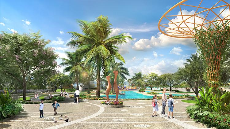 Phối cảnh 2 công viên tại Verosa Park với đa dạng tiện ích như khu vui chơi trẻ em, không gian đọc sách, sân thể thao đa năng.