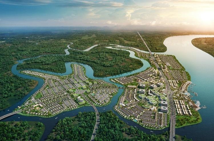 Aqua City mới ra mắt thị trường và thu hút nhà đầu tư vì phát triển theo mô hình đô thị sinh thái thông minh, đáp ưng nhu cầu sống xanh hiện đại. Ảnh phối cảnh Aqua City.  Bất động sản Đồng Nai hưởng lợi từ quy hoạch ghfghgj 8459 1571652646