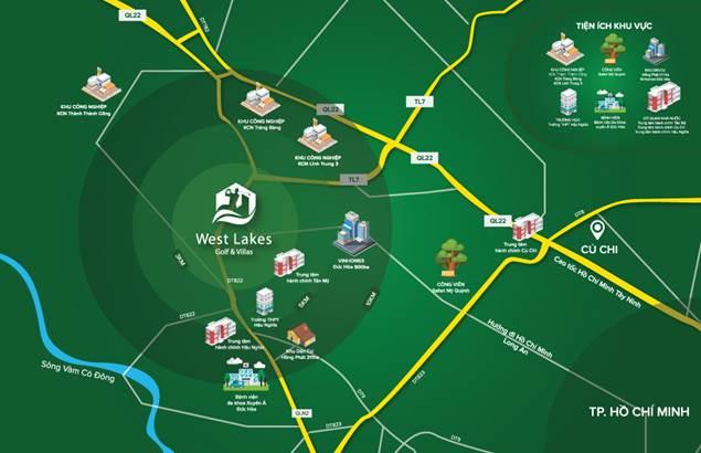 Vị trí của dự án West Lake Golf Villas tại Long An.