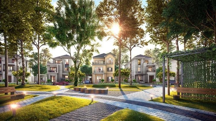 Phối cảnh biệt thự đơn lập Grand Villas thuộc dự án đô thị sinh thái thông minh Aqua City.