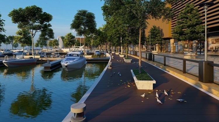 Phối cảnh bến du thuyền và không gian ven sông tại Aqua City.
