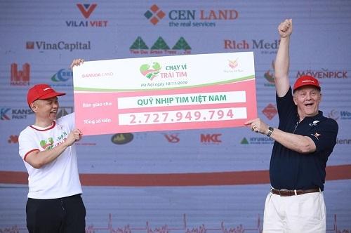 Sự kiện Chạy vì trái tim 2019 diễn ra ở Hà Nội quyên góp được hơn 2,7 tỉ đồng.