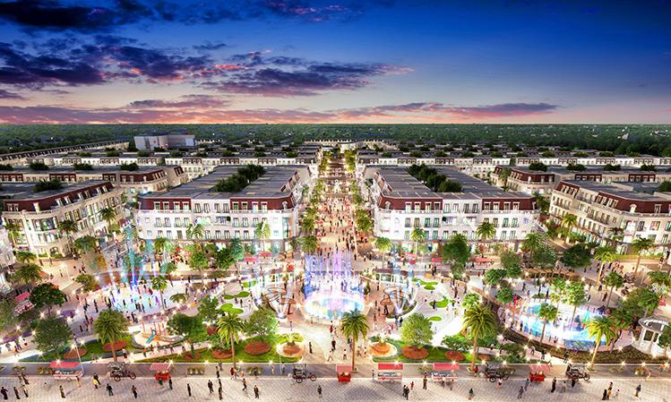Phối cảnh khu quảng trường nhạc nước bên trong dự án.