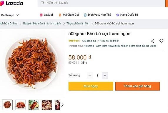 Ngay trên trạng thương mại điện tử uy tín, khô bò đã sale có giá 106.000 đồng một kg. Ảnh: Hồng Châu.