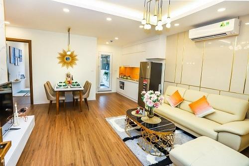 Không gian một căn hộ mẫu 77,2 m2