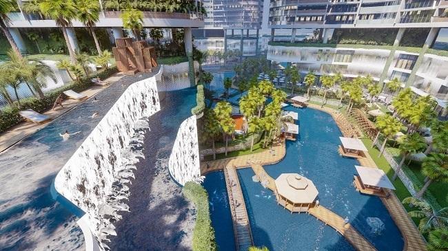 Sunshine Diamond River là tổ hợp căn hộ có tổng mức đầu tư hơn một tỷ USD. Dự án sở hữu vị trí đẹp, bao bọc bởi dòng hợp lưu rộng hàng trăm mét của sông Sài Gòn và sông Đồng Nai trên đường Đào Trí.  Chủ đầu tư thiết kế dự án theo mô hình resort 6 sao tại Bali (Indonesia) với hơn 100 tiện ích đẳng cấp. Điểm nhấn của khu resort này là không gian cây xanh, mặt nước quy mô hàng chục nghìn m2, được bố trí khắp nơi và tiếp cận tận thềm căn hộ.  Chúng tôi đã chi hàng nghìn tỷ để phát triển hệ thống sông nhân tạo, các thác nước chân mây, hơn 40 khu vườn nhiệt đới, hàng chục vườn thiền, hàng loạt hồ bơi trên cao, 4.000 vườn nhiệt đới mini trên không, tổ hợp sky bar và cafe tầng thượng, tổ hợp vui chơi, giải trí diện tích gần 10.000m2, đại diện chủ đầu tư nói.
