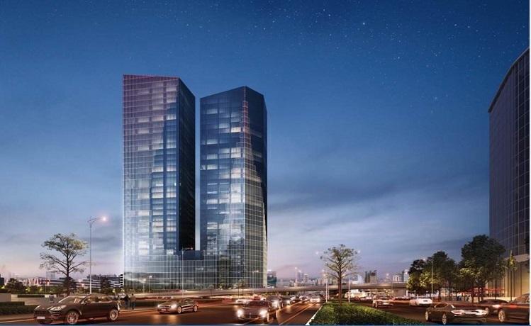 Tòa văn phòng nằm ở trục đường LIễu Giai - Kim Mã - Nguyễn Chí Thanh, nơi giao thoa giữa trung tâm hành chính mới và cũ.