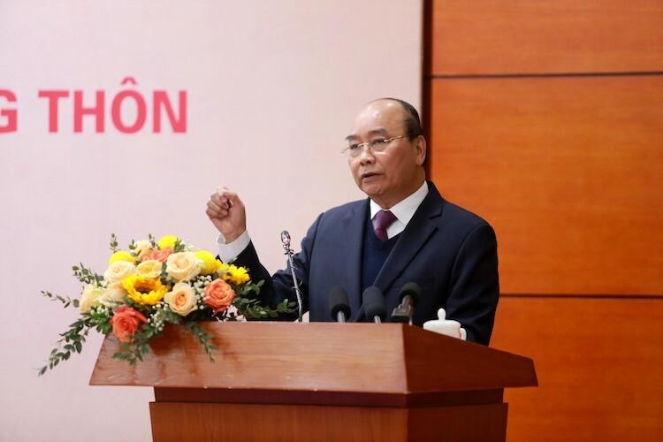 Thủ tướng Nguyễn Xuân Phúc phát biểu tại hội nghị tổng kết ngành nông nghiệp, ngày 23/12. Ảnh: Võ Hải