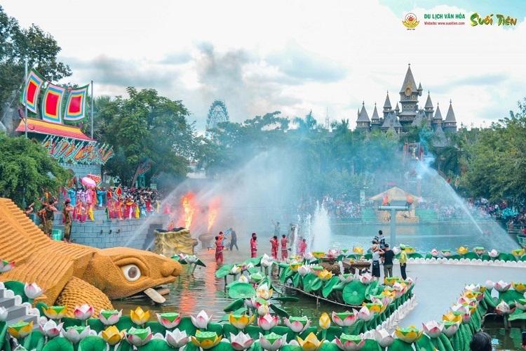 Khu vực sân khấu hóa Sơn Tinh - Thủy Tinh.