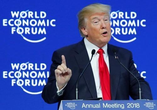 Tổng thống Mỹ - Donald Trump phát biểu tại Davos 2018. Ảnh: Reuters