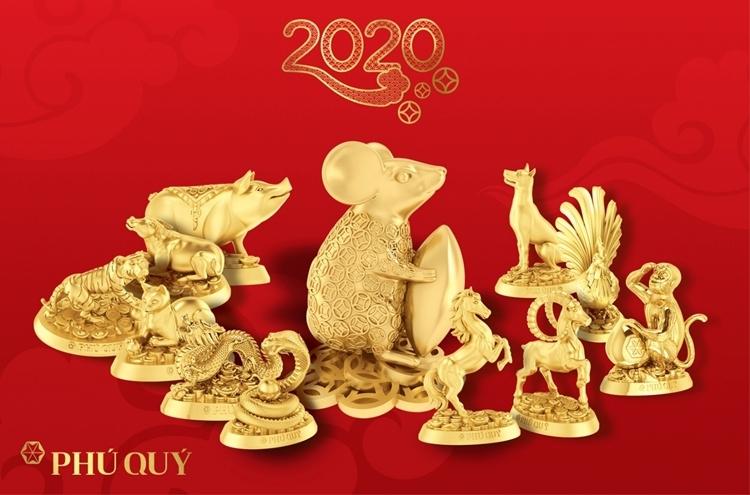 Bộ tượng 12 con giáp vàng 24k Phú Quý tinh xảo