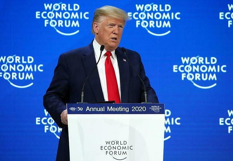Tổng thống Mỹ Donald Trump phát biểu tại Davos hôm nay. Ảnh: Reuters