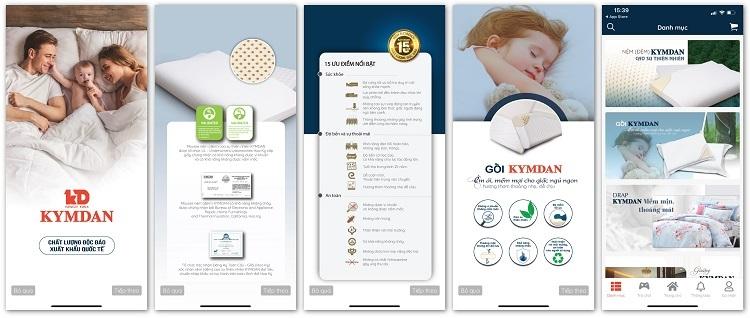 Giao diện app Kymdan Store bằng tiếng Việt, đơn giản, dễ sử dụng, có tích hợp trên cả hai hệ điều hành Android và iOS.